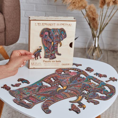Éléphant-Impérial-Puzzle-en-Bois