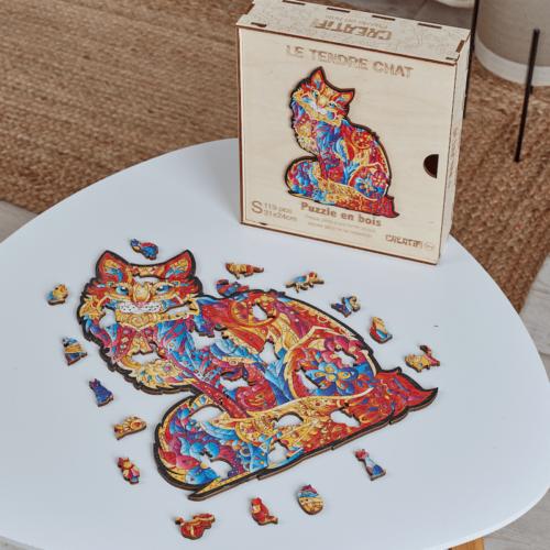 Tendre Chat Puzzle en bois 6